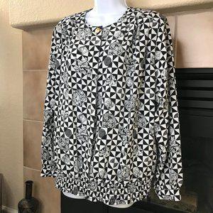 Vintage Women's L/S Blouse | Black/White | Size 16
